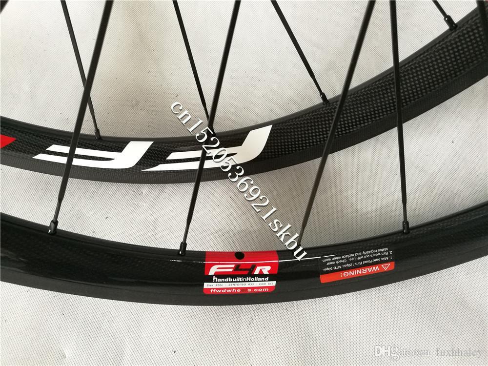 Pintura libre FFWD Avance rápido F4R juego de ruedas 700c 38mm 23 / 25mm ancho 3K brillante fibra de carbono remache Powerway R36 ruedas de bicicleta de carretera