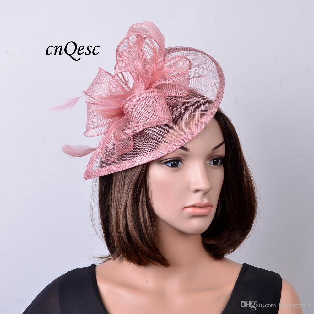 d3bf04d1c3d42 NEW Heather Pink Sinamay Fascinator Hat For Ascot Races