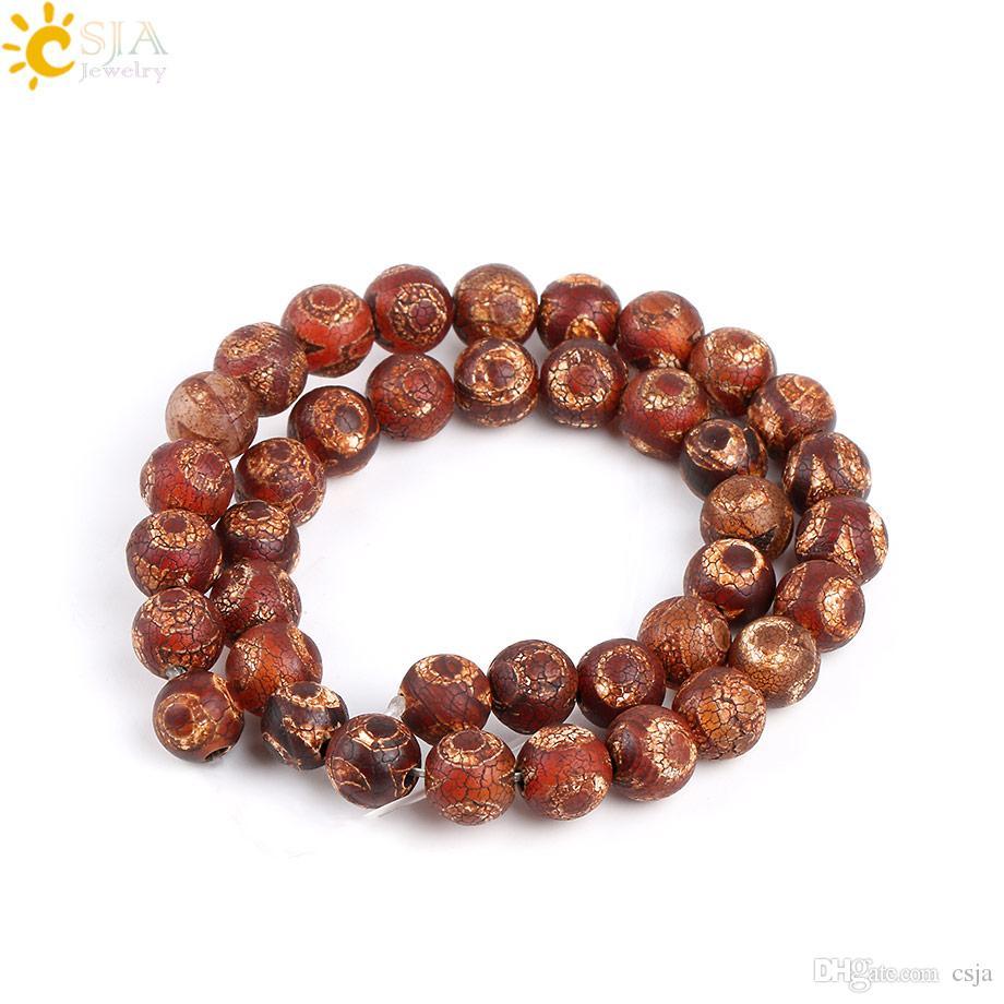 CSJA 10mm Retro Old Eye Tibet Dzi Agate Round Loose Beads Men Women Necklace Bracelet Prayer Jewelry Making Color Mixed Wholesale Beads P010