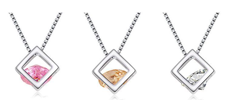 Silver Plated Cubic Zirconia Box Necklace CZ Diamond Crystal Magic Cube Pendants Fashion Jewelry Gift for Women Drop Shipping