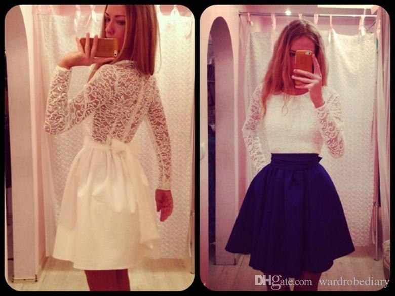 1094b1e6a9 Women Long Sleeve Sexy Lace Evening Party Bodycon Mini Skater Dress Long  Sleeves Casual Dress Apparel Classic Elegant Office Lady Clothing Sexy Dress  Denim ...