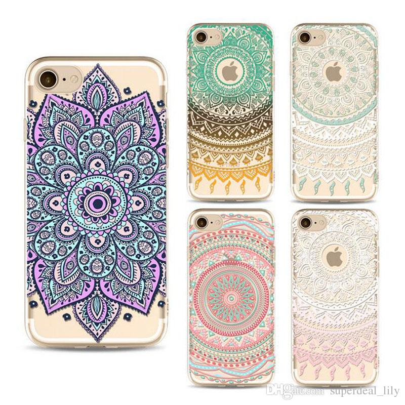 For iPhone X 8 7 6s 6 Plus 5s 5 Case Clear Soft TPU Cover Totems Floral  Mandara Pattern Case Bohemia Phone Shell