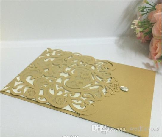 Hollow Laser Cut Wedding Invitations Gold Printing Wedding Flowers Hollow Wedding Cards coffee color DHL
