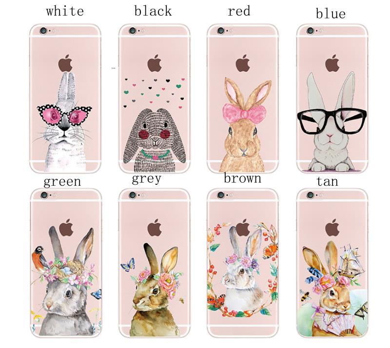 brand new f1892 d5177 Cute Rabbit Romantic illustration Case Cover For iphone6 6s Plus 7 7Plus 8  8Plus X Transparent Cell Phone Cases For Galaxy S6 S7