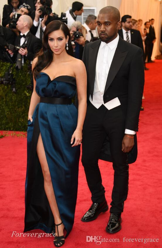 Elegant Long Met Gala Kim Kardashian Evening Dress Sweetheart ...