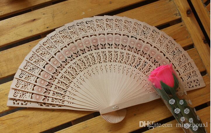 Ahşap Hayranları El Yapımı Ahşap El Fanlar Vintage Japon Çin Katlanır Çiçek Ahşap El Fan Çin Oyma Katlanır Koku