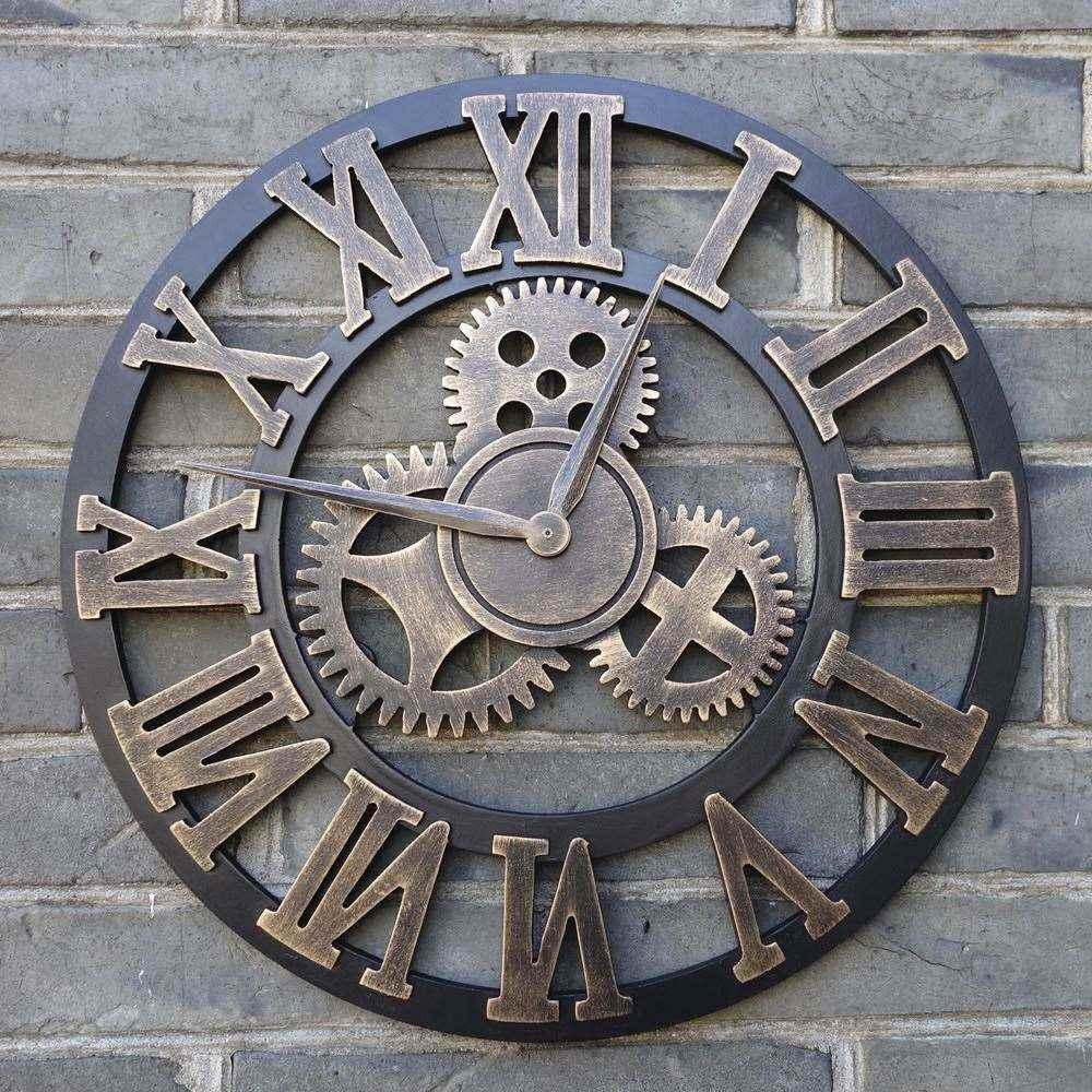 Handmade Oversized 3d Retro Rustic Decorative Luxury Art Big Gear Wooden Vintage Large Wall Clock On The For Gift 20 Inches Clocks Black