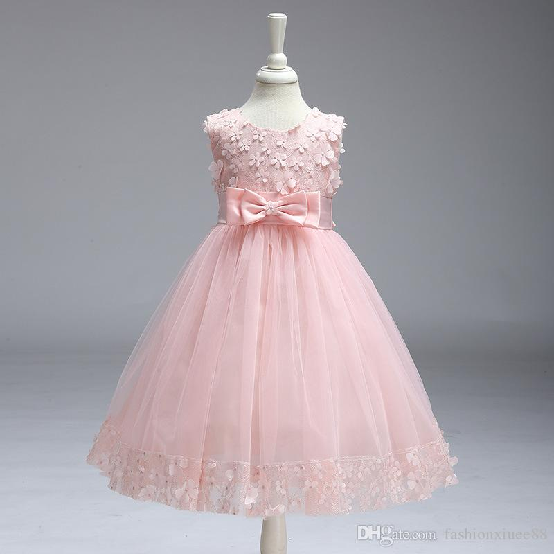 Üst Satış Tank Kolsuz Ballgown Vestidos Primera Comunion Para Ninas Için 2018 Çiçek Kız Elbise Düğün Parti