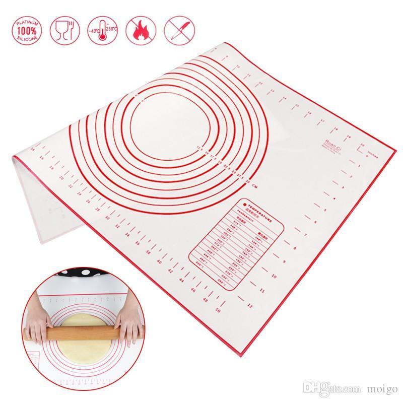 Accesorios de cocina Fibra de vidrio de silicona Rolling Dough Hoja Pastel Pastelería Pastel Horno Para hornear Naves Almohadilla Estera Pasta Herramientas de cocina