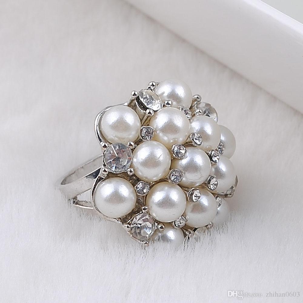 Anelli di fidanzamento Nuovo bianco k Anello placcato Moda elegante simulato perla Anelli gioielli donna grande sconto