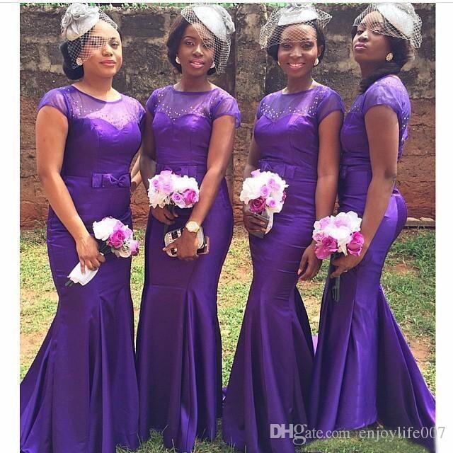 African Style Purple Mermaid Bridesmaid Dresses Crystal Vestidos