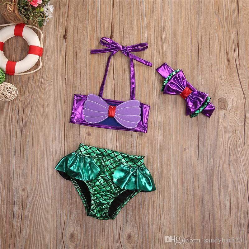 Kids Girls Bikini Swimwear Baby Girls Mermaid Swimsuit Toddler Headband + Top ++ Pants Set 2017 Princess Bathing Tankini Swimwear B59
