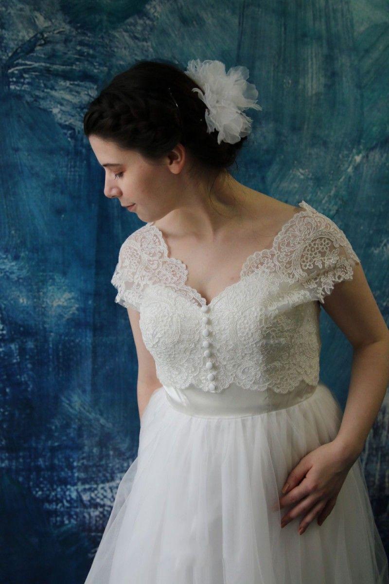 2017 Full Lace Short Wedding Dress Jacket White Lace Up Bridal Bolero Fascinator Custom Made Bride Accessories