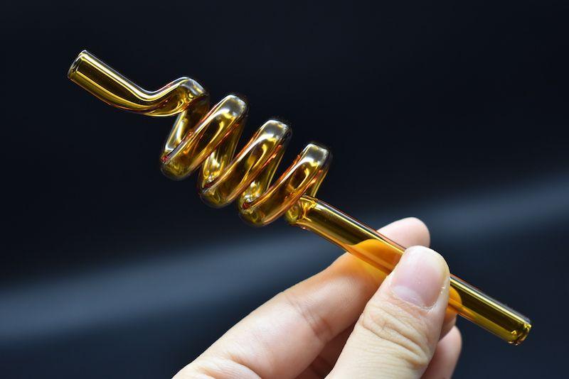 bunte dick berauschend billig Glas Rauchen Rohr gerade Hand Rohr Spirale Ölbrenner Rohr Shisha Glas Bong kleine tragbare Wasserleitungen