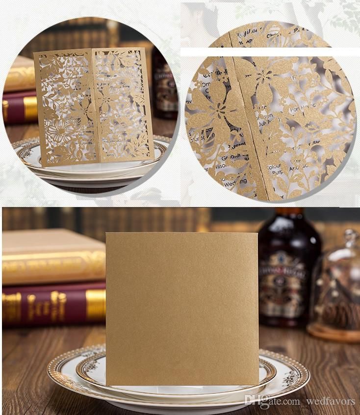 Gold Elegant Laser Cut Hollow Wedding Invitations Cards High Quality personalized Bridal Invitation Card Cheap DHL new designs