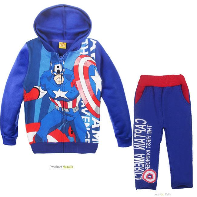 b31d622f9d62 2019 Cute Causal Kids Hoodie And Pants Set Plus Velvet Captain America  Clothes Set For 2 6yrs Children Boys Girls Outerwear Set Hot From Max4072