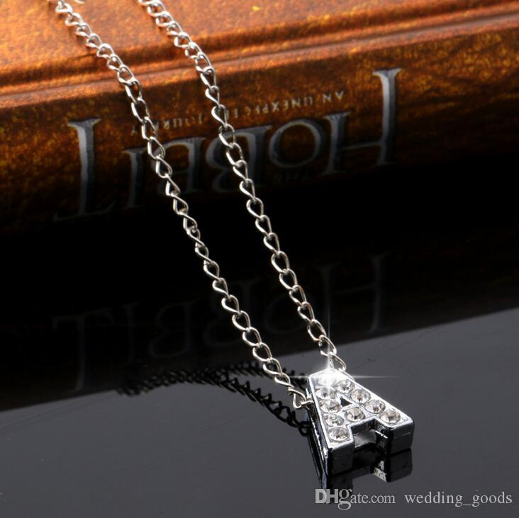selling new alloy diamond inscription ornaments A-Z simple 26-letter female necklace WFN004 with chain a