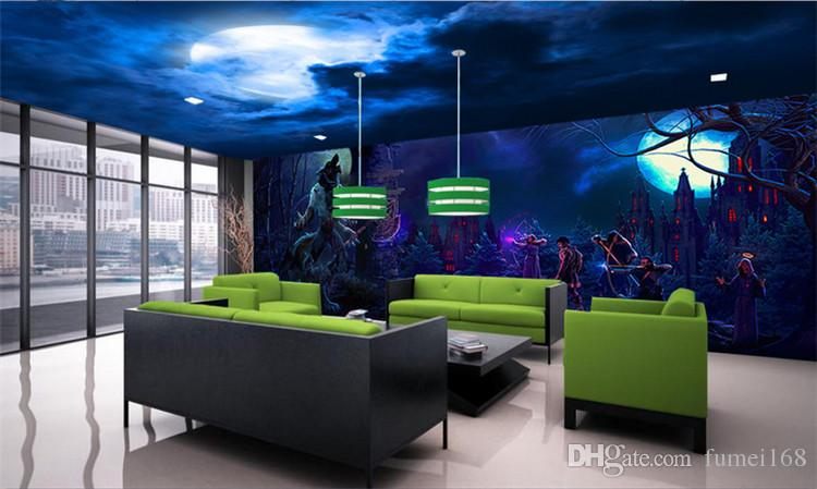 Halloween Realistic vampire horror Skull Rock papel de parede 3D wallpaper for walls 3D Stereo Mysterious Forest Horror Room Escape