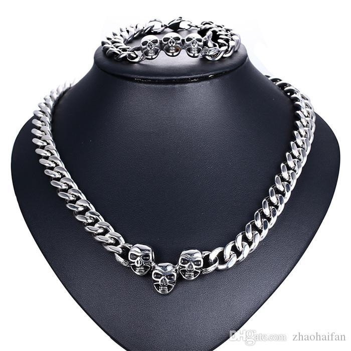 ZHF Jewelry 200.6g / pair 13mm Domineering Skull head necklace bracelet set Top precision steel Birthday present bracelet jewelry set