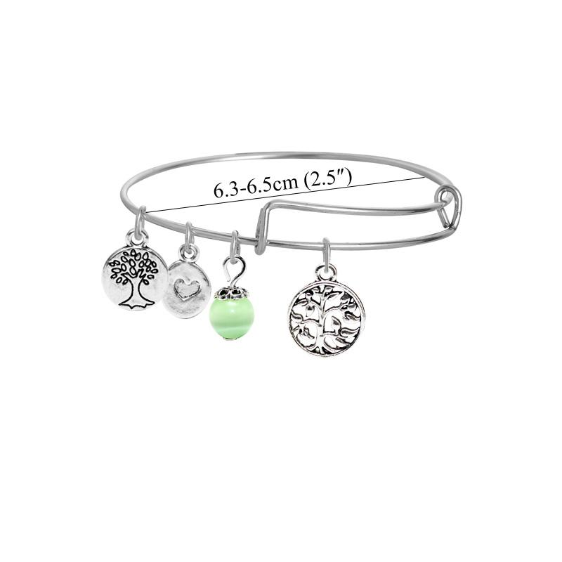 Korea fashion DIY tree of life wire bracelets for women and girls silver plated happy tree charms alloy bangles with green crystal beads