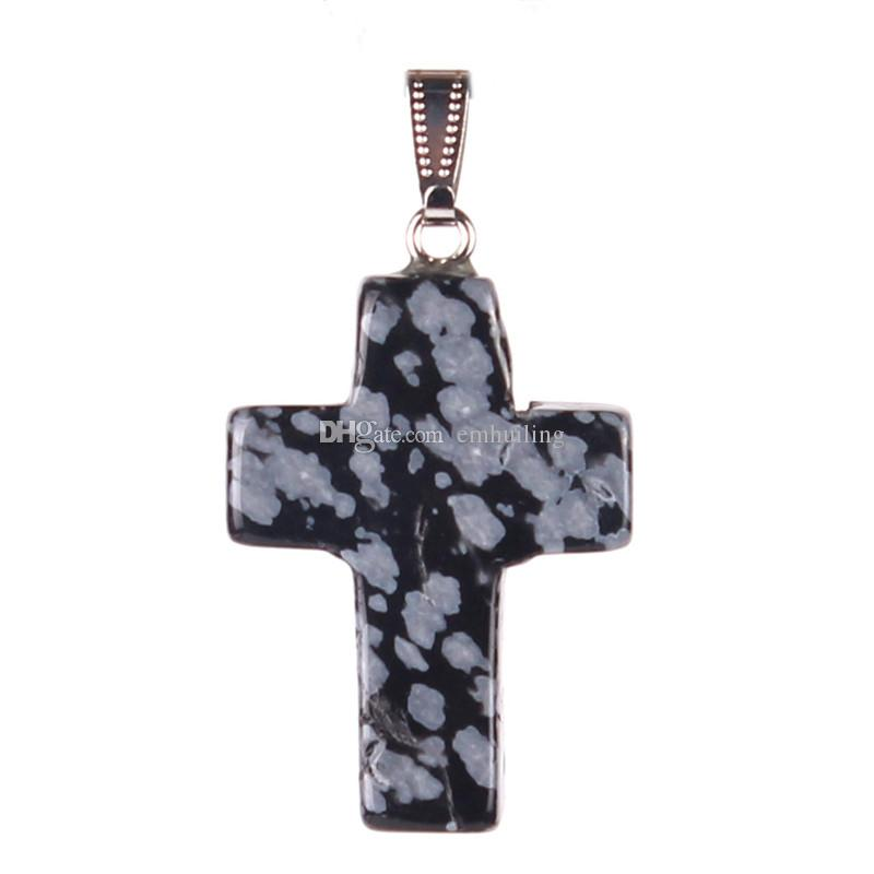New Special Simple Mix Stone Stone Natura Snowflake Obsidian Fashion Charms Carino Party Hot Party Amazing Love of God Donne Donne Pendente di Pendente incrociata