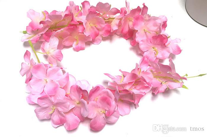 Wholesale 45/80/100 inch Artificial Silk Hydrangea Garland Purple Wisteria Flower Vine Garland for Wedding Backdrop Wall Decor Supplies