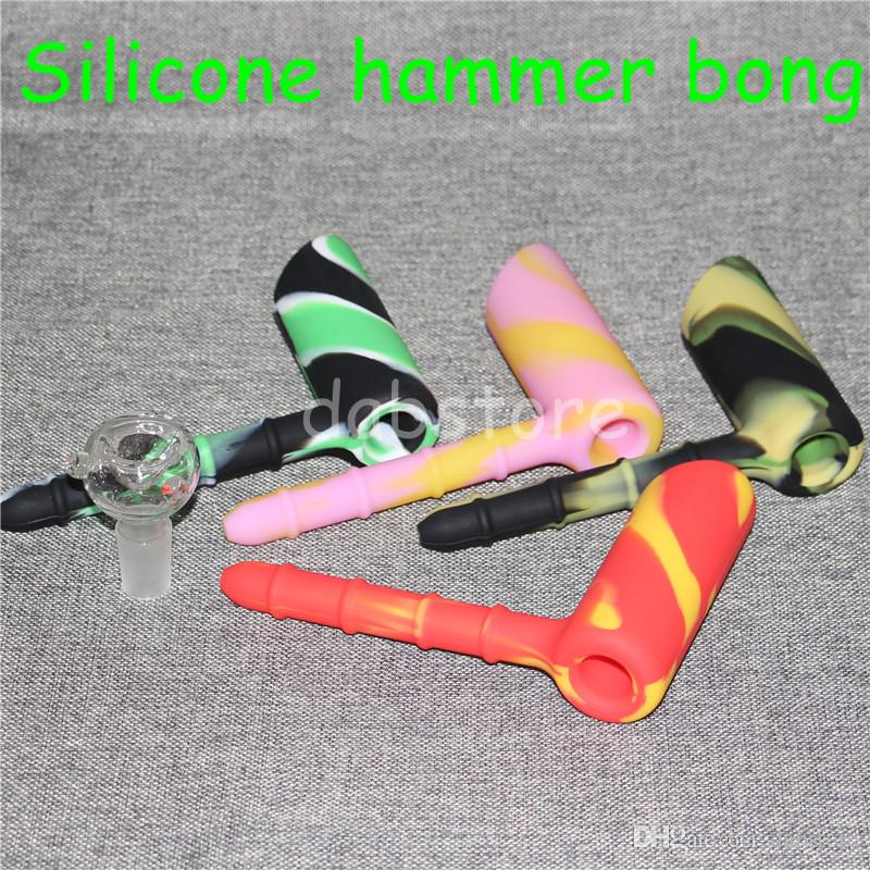 Hammer Travel Mini Bongs The Martian silicone Blunt Bong Bubbler Joint Smoking Bubble Small Water Pipe Silicone Nectar Collector DHL