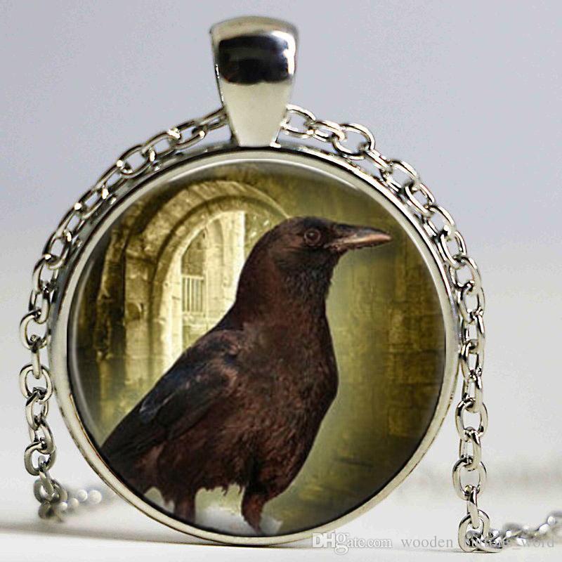 Handmade Black RAVEN Bird In Moon Crow pendant RAVEN Art Glass Dome Pendant Necklace
