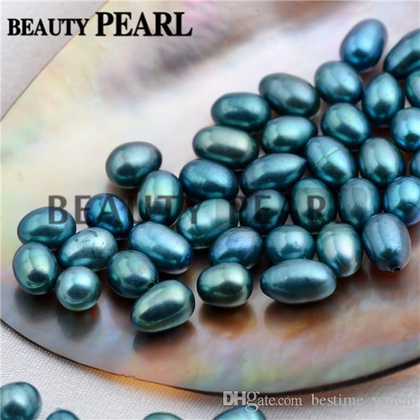 Wholesale 30 Pieces Rice Peacock Blue and Green Freshwater Pearls Half-drilled Teardrop Peacock Loose Pearl Mixed 6-9mm