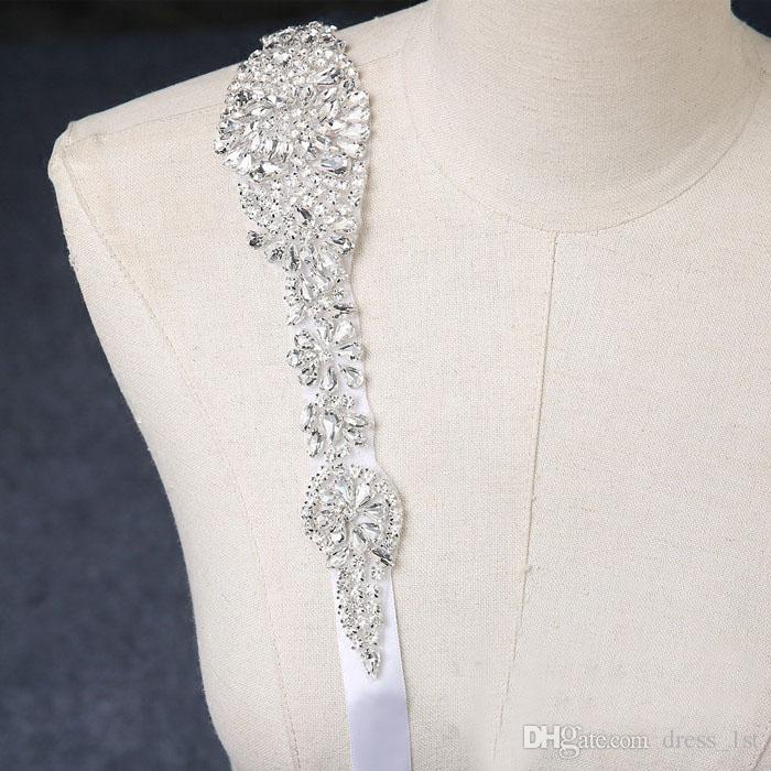 2018 Stunning Rhinestone Bridal Sash Wedding Belt Real Image Cheap White Ivory Satin Wedding Dress Belt Custom Made EN12152