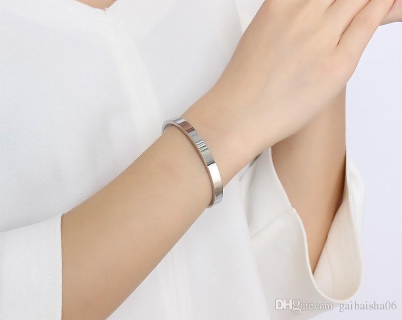 Wide Open des bracelets en or plaqué argent noir Boutons de manchette en acier inoxydable Bangles Bijoux Bracelets 6 mm de Femmes Hommes