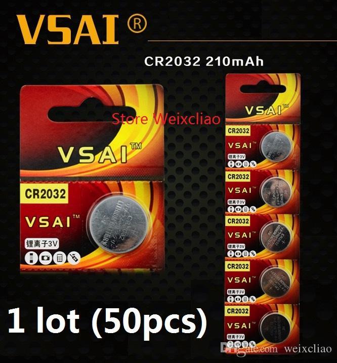 50 pz 1 lotto CR2032 3 V batteria agli ioni di litio pulsante a bottone CR 2032 3 Volt batterie agli ioni di litio VSAI Spedizione Gratuita