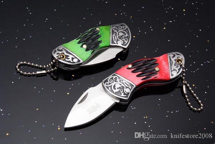 Mini Kesme aracı 440 Blade Çelik ve kemik Kolu Bırak noktası Katlanır Cep OEM EDC Taktik Bıçak Kurtarma Bıçaklar Yeni orijinal kutusunda