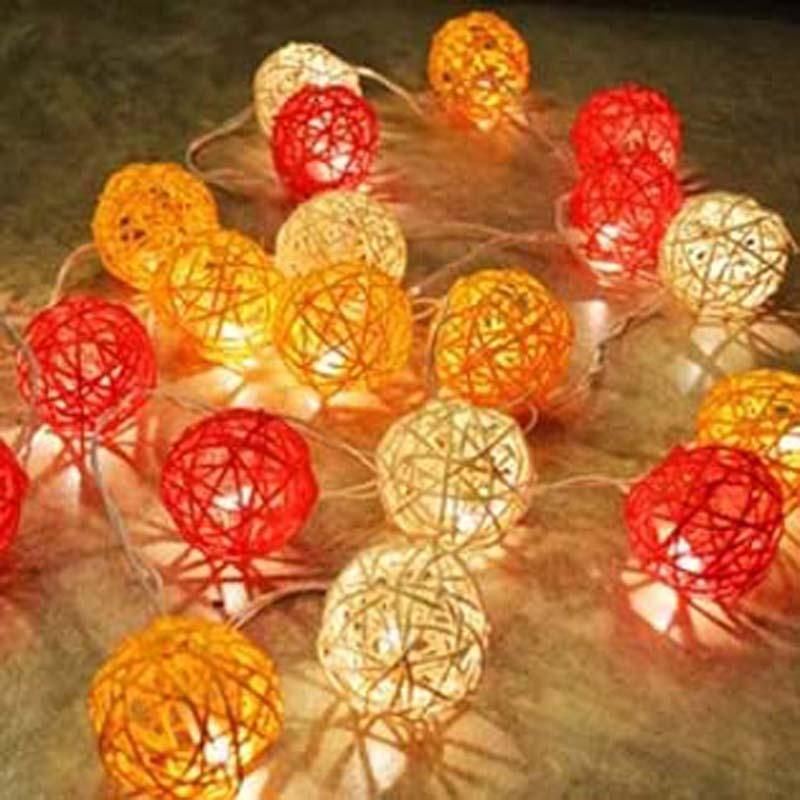 wholesale 20 rattan ball lights battery operated christmas garland lights ac plug led holiday string fairy lights guirlande gerlyanda round string lights