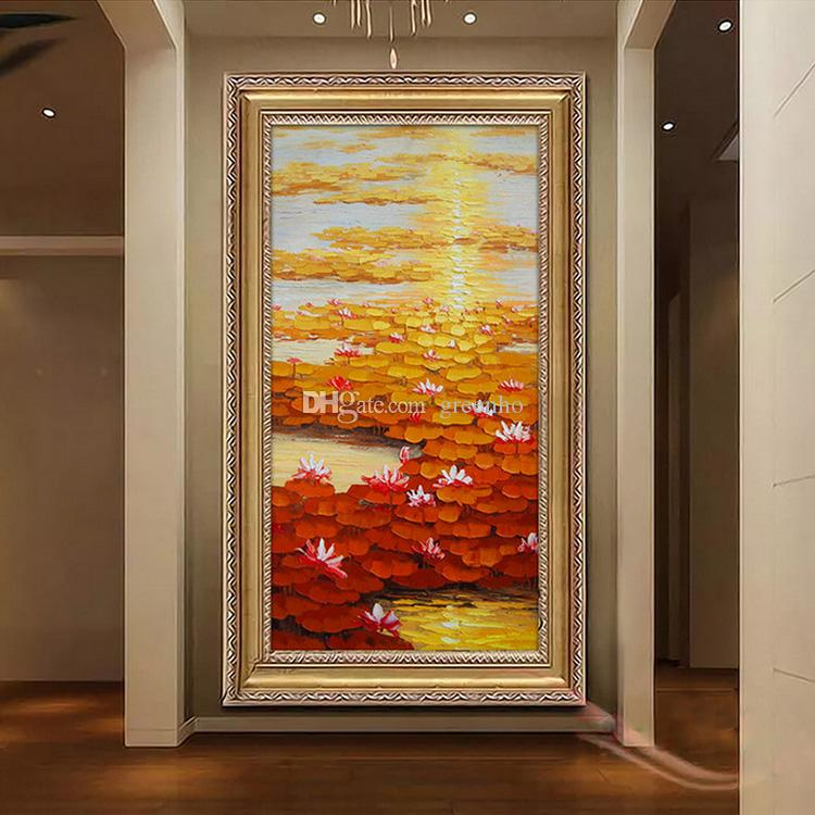 Hotel Dining Room: 3D Oil Painting Wallpaper Water Lily Wall Mural Custom
