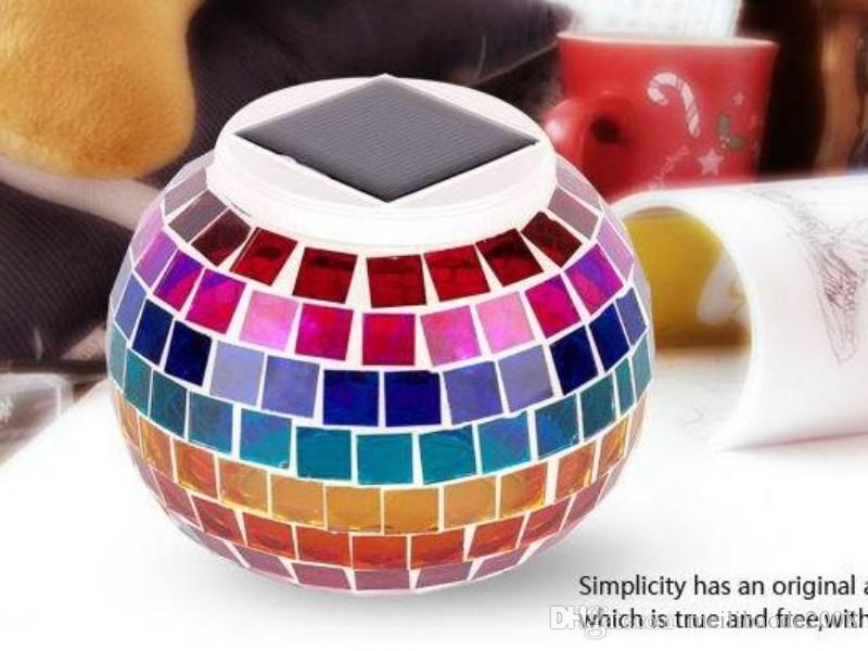 Solar Powered Mosaic Glass Ball LED Garden Lights,Color Changing Solar Table Lamps,Waterproof Solar Outdoor Lights for Christmas MYY