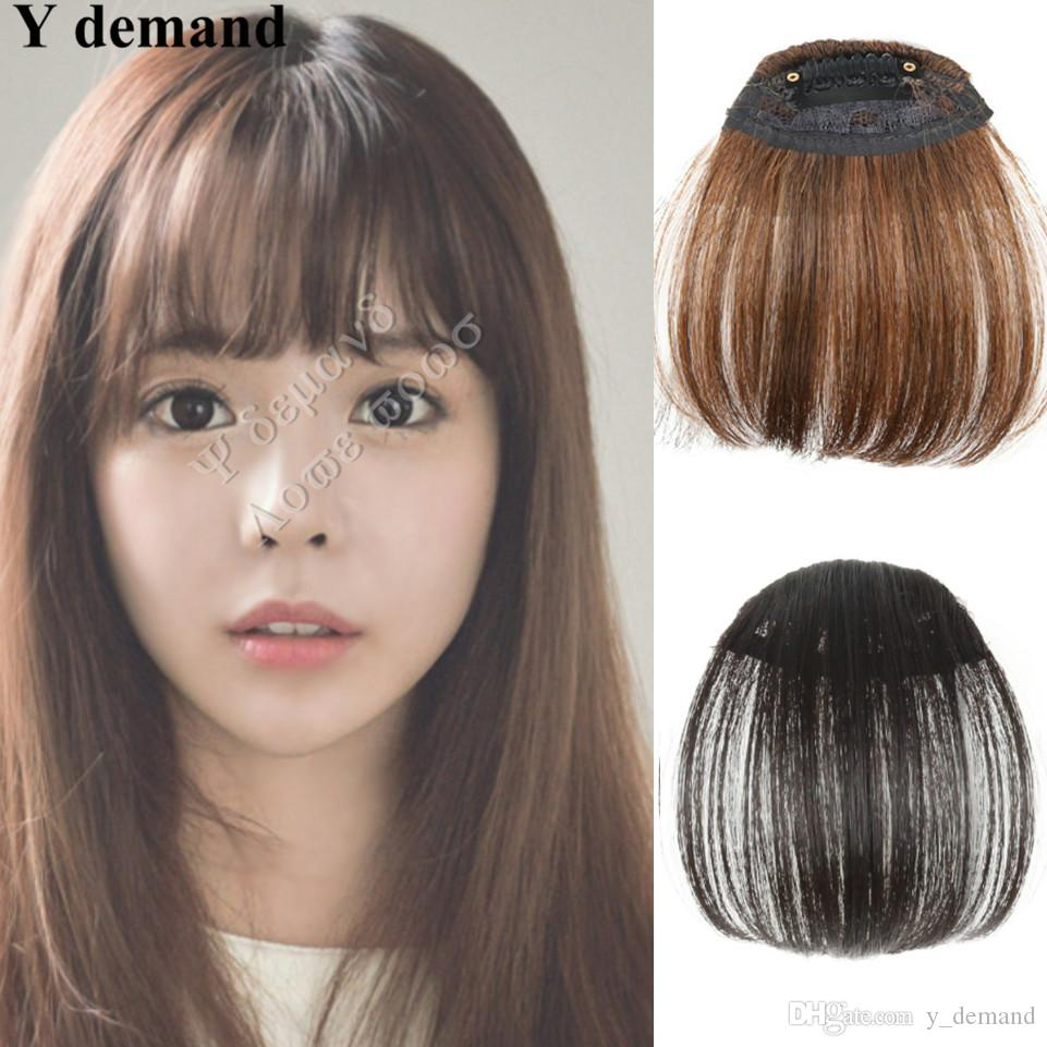 Natural Bang False Hair Bangs Black/Light Brown/Dark Brown Clip In on Bangs Synthetic Hair Fringe 3 Colors Fashion Y demand