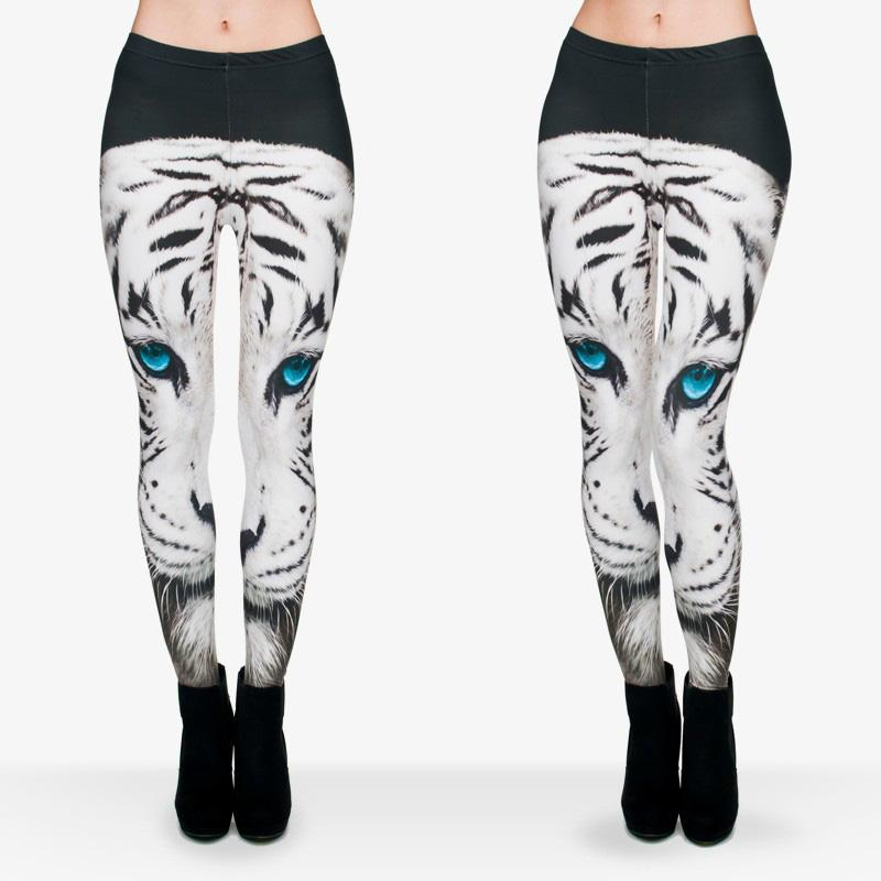 0584801897a583 2019 Women Leggings White Tiger Blue Eyes 3D Graphic Print Girl Skinny  Stretchy Yoga Wear Pants Lady Runner Casual Soft Capris Trousers J29751  From ...