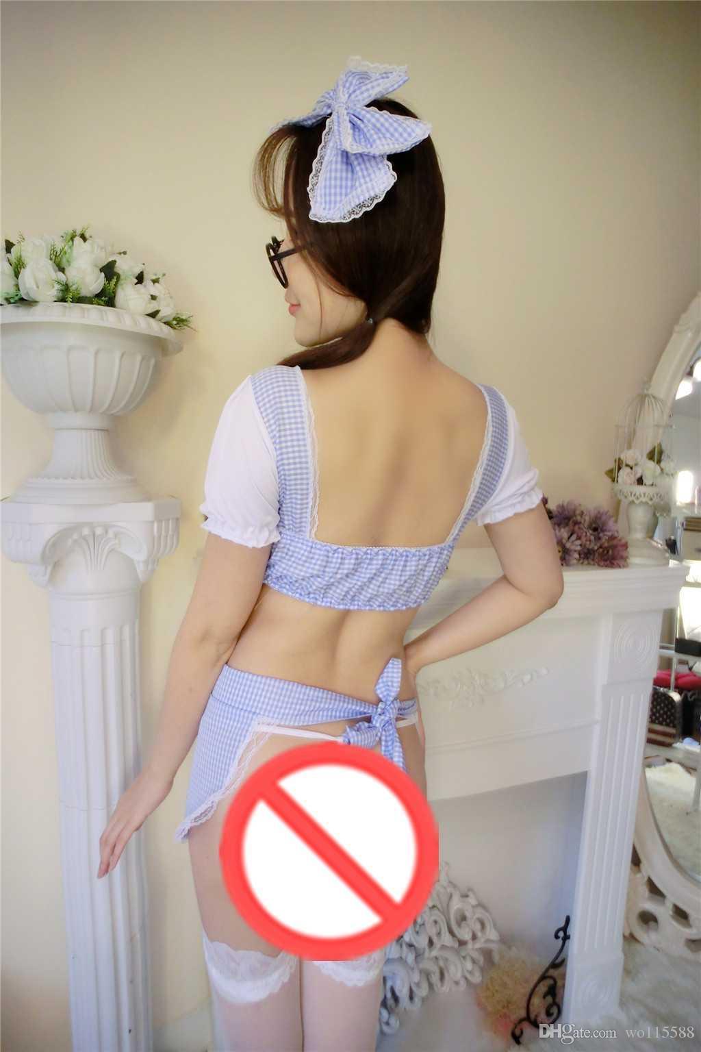 Frete Grátis lingerie sexy Roupa Interior Bonito Da Empregada Doméstica Aventais Saia Saia Curta PP Extrema Tentação SM Role Play Cauda Leaky Maid Menina Pijamas