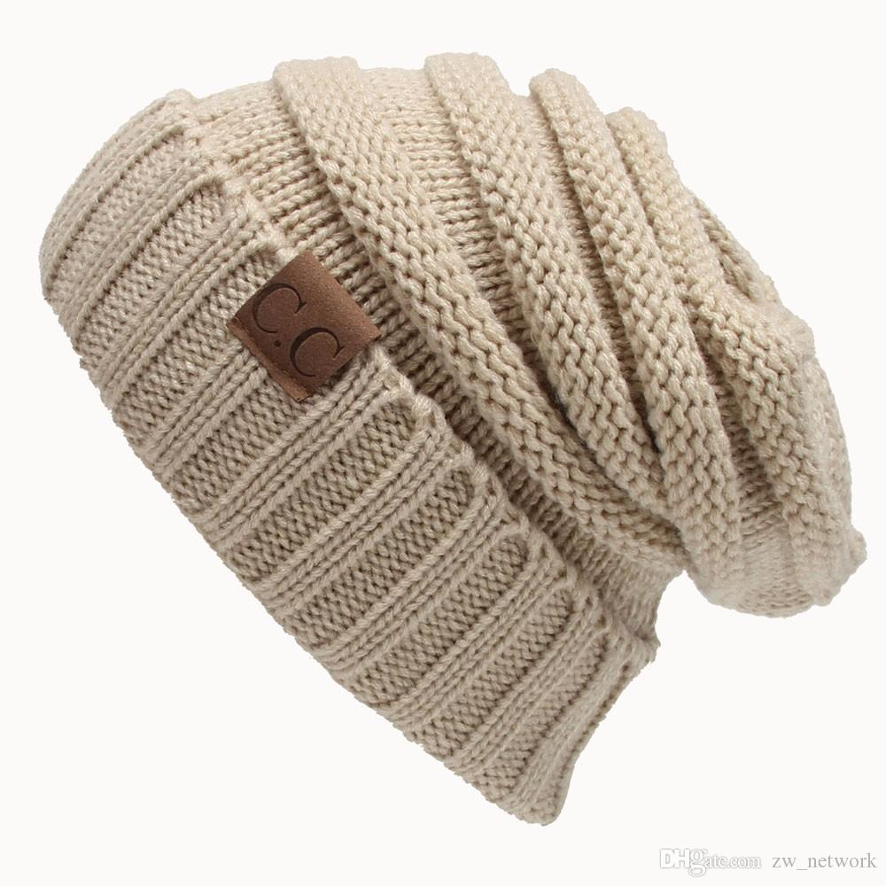 f411bff3b4207 Compre Dulces Mujeres Sombrero Cc Trendy Gorras Warm Oversized Chunky Soft  Oversized Cable Knit Slouchy Beanie es 77 A  2.22 Del Zw network
