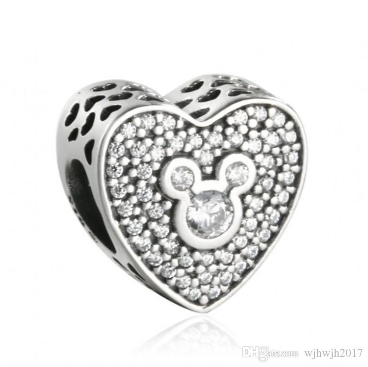 New Heart Charms Beads 925 Sterling-Silver-Jewelry Pave Crystal Cartoon Animal Bead Fits DIY Brand Bracelets Jewelry Making Accessories