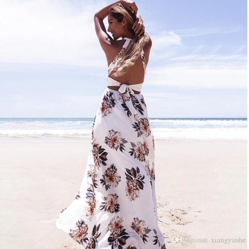 2017 High Quality New Floral Print Halter Chiffon Long Dress Women White  Split Beach Summer Dress Sexy Backless Maxi Dresses Dresses For Prom Beaded  Dresses ... f29d5fa45