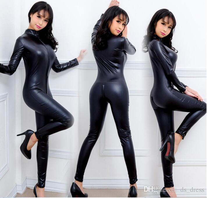 2017 New Black Women Faux Leather Wet Look Pvc Catsuit