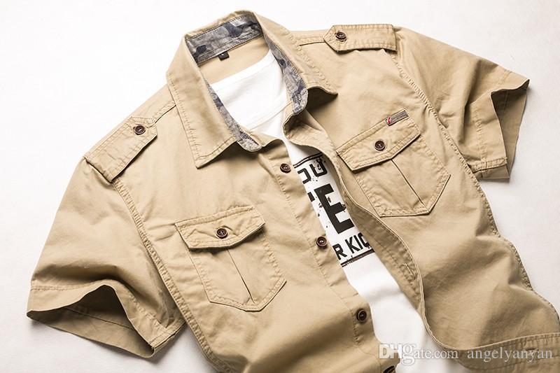 Livraison gratuite coton chemises à manches courtes pour hommes à manches courtes, plus la taille uniforme militaire en vrac chemise coton rembourré armée chemises