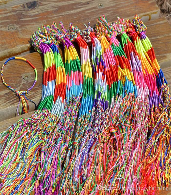 Leather Bracelet Brand Colorful Pure Manual cotton Infinity woven Bracelet Handmade Cheap Braid Cord Strand Braided Friendship Bracelets