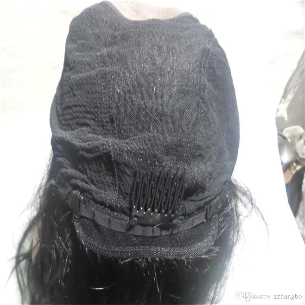 Cheia Do Laço Perucas Cor bonita preto Cheia Do Laço Peruca de Cabelo Humano Sênior de seda Longo Ondulado Brasileiro Virgem Do Cabelo 100% Com Franja Para as mulheres Cor 1 #