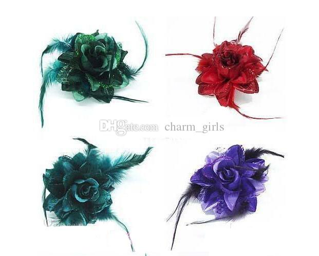 Free freight Fashion hair accessories Lady feather Flower hair clips Brooch mix colors Crocodile clip Brooch