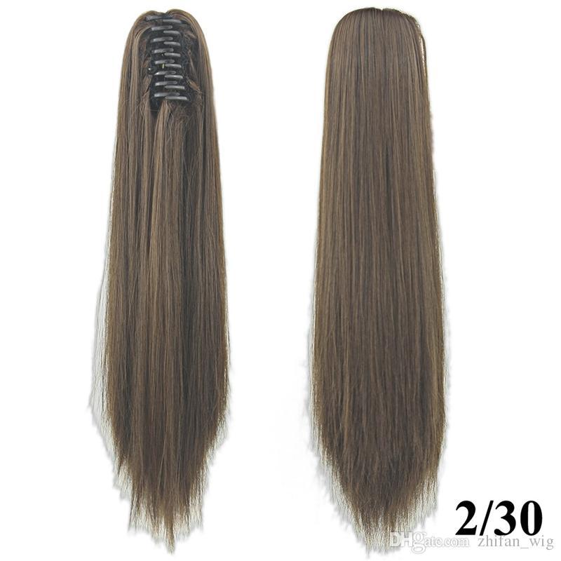 ZF Top Quality 15 Couleurs Clip Griffe Ponytails 55 CM 130g Morceau de Cheveux Synthétique Longue Raide Extensions de Cheveux Mode Femme