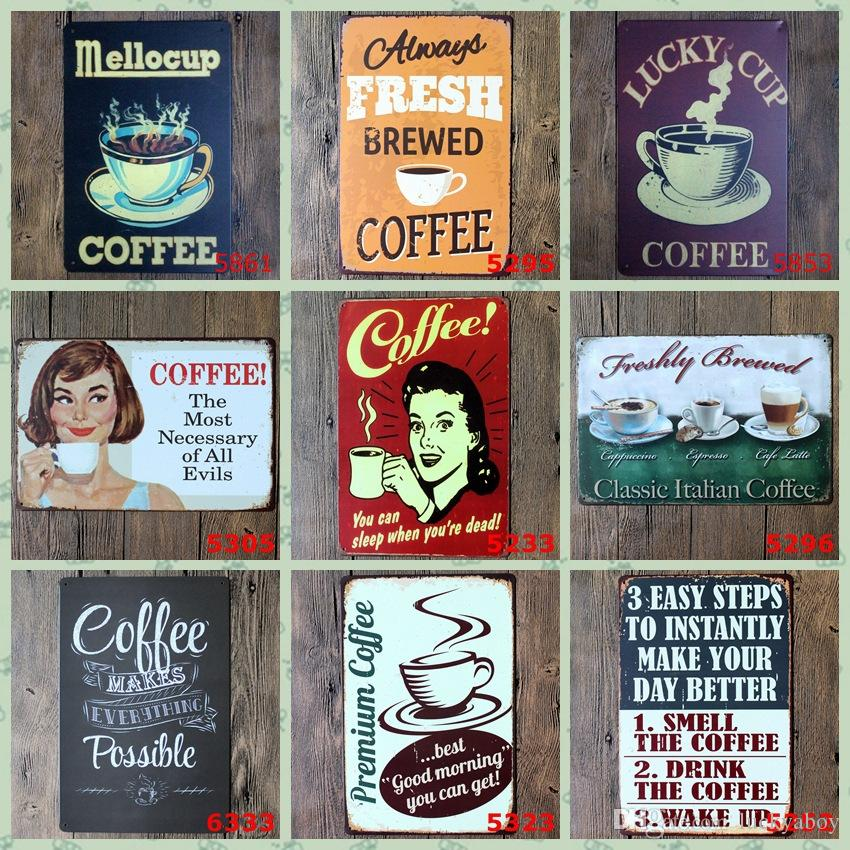Smell and Drink Coffee Vintage Craft Tin Sign Retro Metal Painting Antique Iron Poster Bar Pub Signs Wall Art Sticker(Mixed designs)