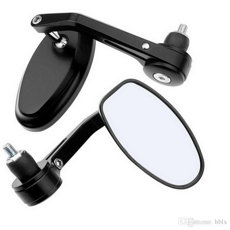 """2x 7/8"""" Aluminum Rear View Side Mirror Handle Bar End Oval Black For Motorcycle MOT_50Q"""